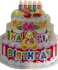 Birthday Cake Sticker with Teddy bear