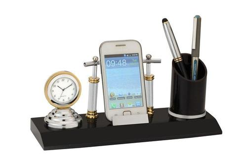 Pen Stand With Clock And Mobile Stand