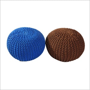 Hand Knitted Cotton Pouf