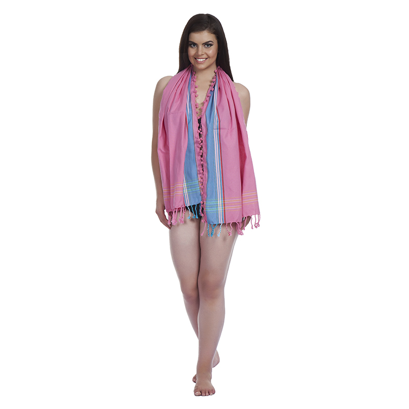 Kikoy Pink Scarf With Pom Pom Detail