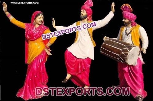 Fiber Punjabi Culture Traditional Statues