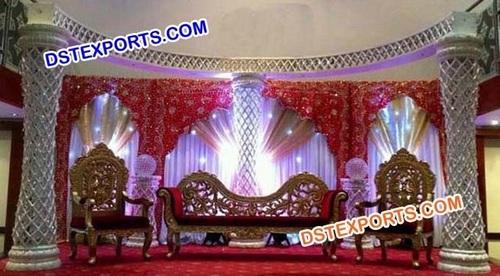 Latest Wedding Crystal Stage With Halfmoon Meharab