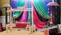 Indian Wedding Mehandi Stage With Swing Decors