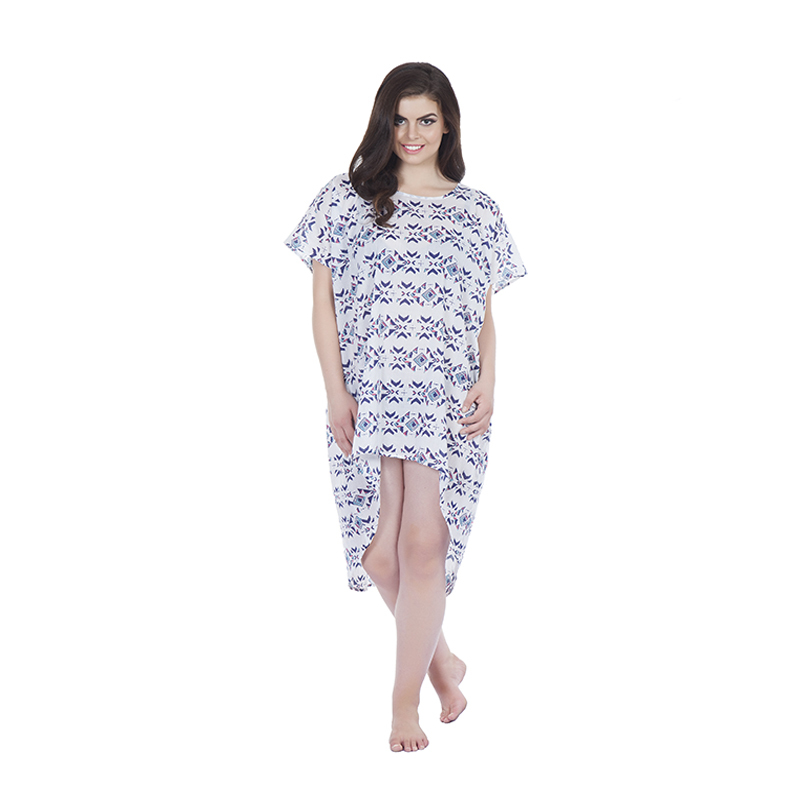 Kaftan style 2 asymetric with kikoy detail pockets in cotton print (front)