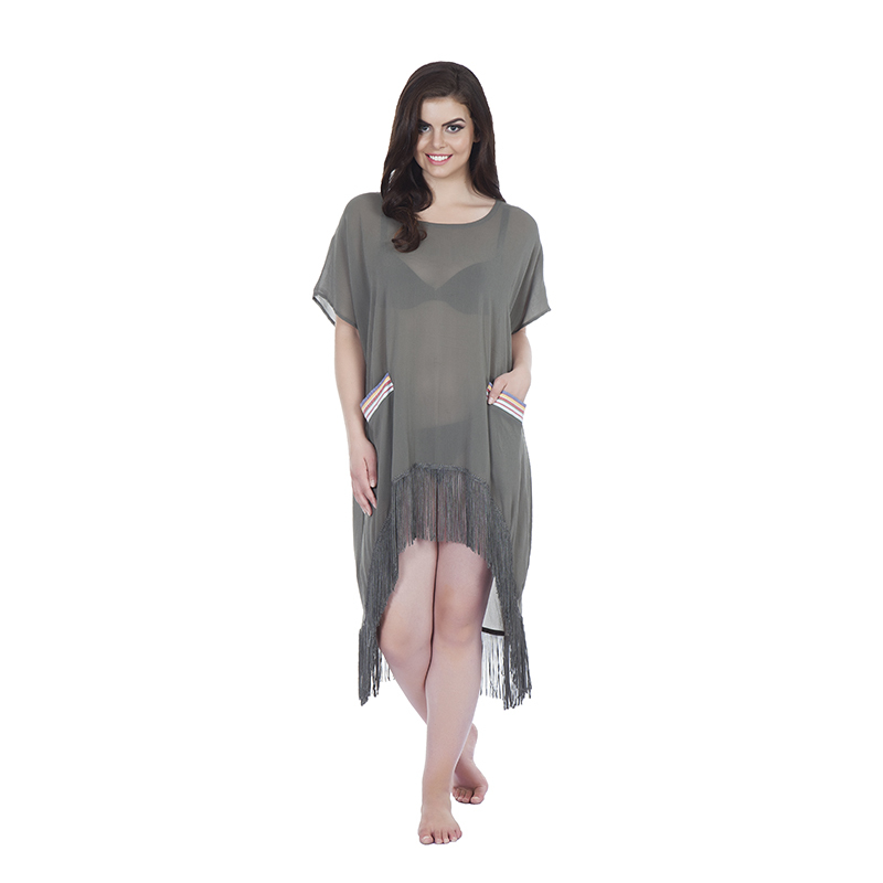 Kaftan style 2 asymetric with kikoy detail pockets in chiffon grey with tassels(front)