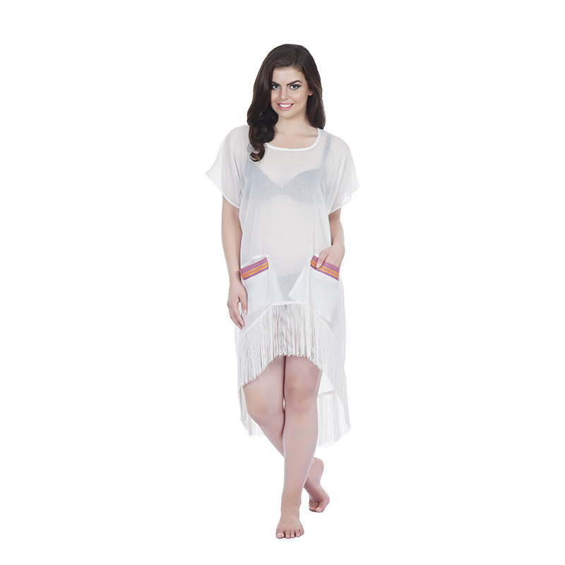 Kaftan style 2 asymetric with kikoy detail pockets in cotton white with tassels(front)