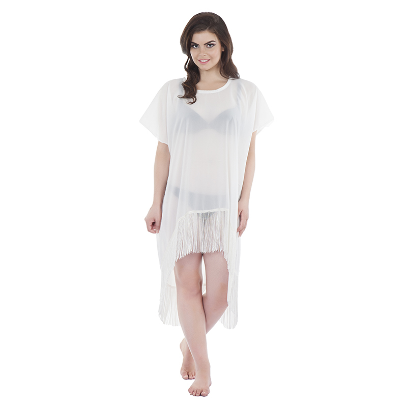 Kaftan style 2 asymetric in chiffon white with tassels (front)