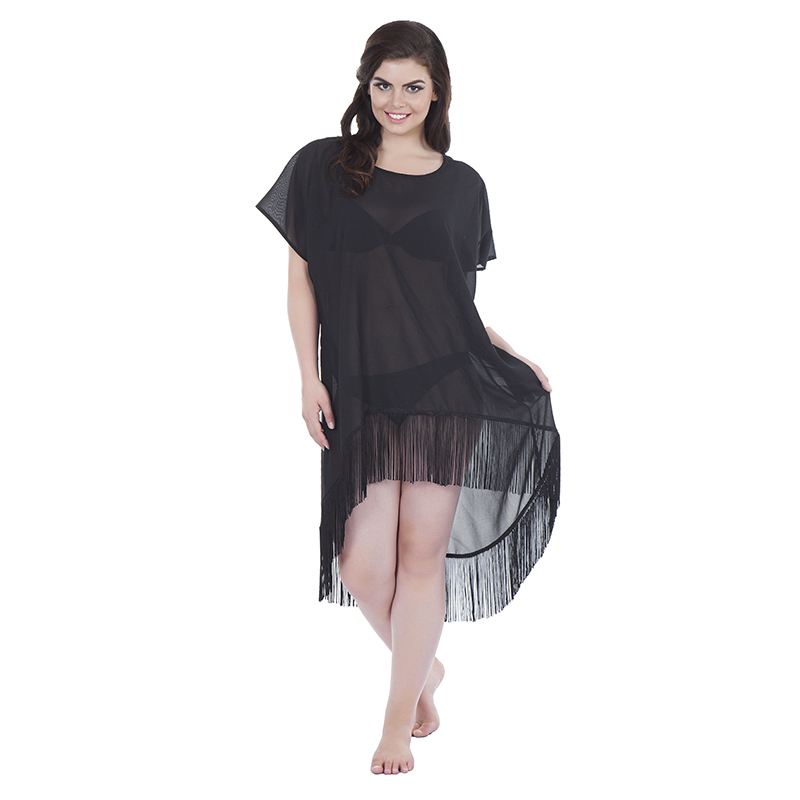 Kaftan style 2 asymetric in cotton black with tassels(front)