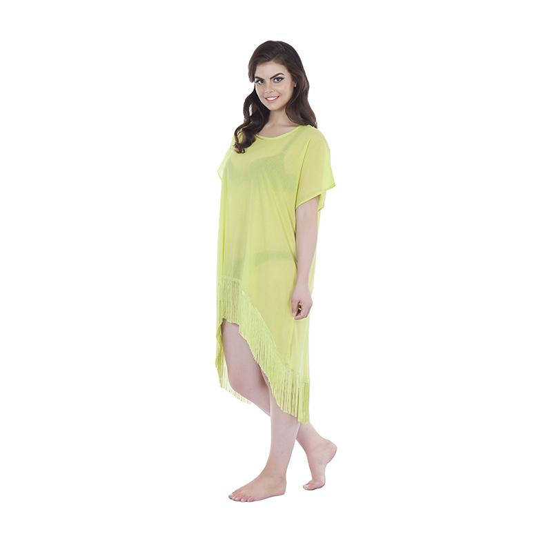 Kaftan style 2 asymetric in cotton neon yellow (side)
