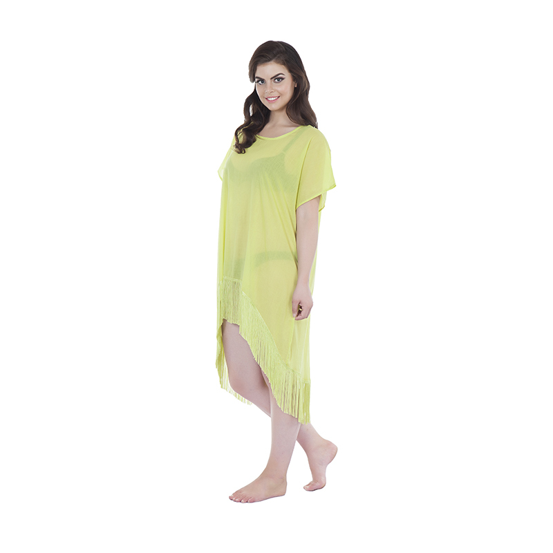 Kikoy Kaftan style 2 asymetric in cotton neon yellow (side)