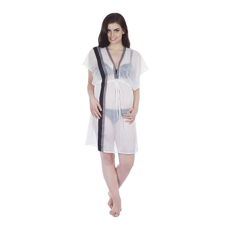 kaftan style 3 butterfly in chiffon white with kikoy detail (front)