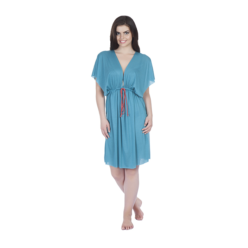 kaftan style 3 butterfly in jearsy green with coloured draw string(front)