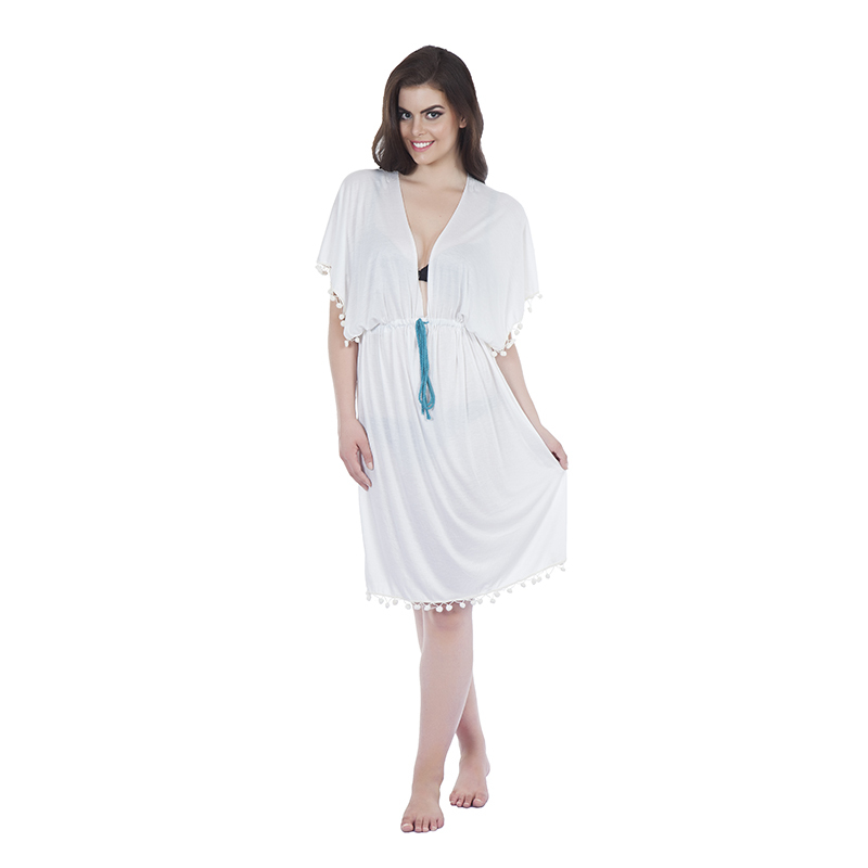 kaftan style 3 butterfly in jearsy white with pom pom detail on edge and coloured draw string(front)