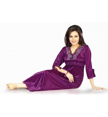 Hot N Sweet Satin Dark Wine One Piece Nighty.