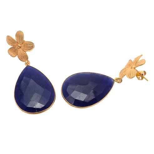 Dyed Sapphire Gemstone Earring
