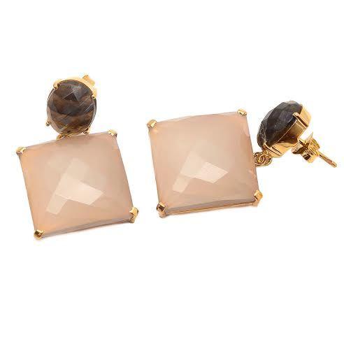 Peach Chalcedony & labradorite gemstone Earring
