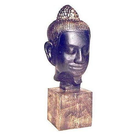 Ancient Buddha Head Sculpture