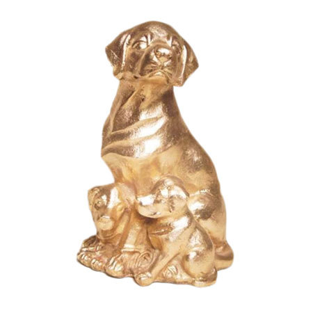 Polished Brass Dog Sculpture