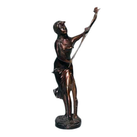 Brass Lady Statue with Birds
