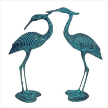 Metal Crane Pair Sculpture