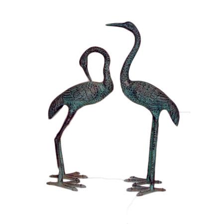 Metal Crane Pair Statue