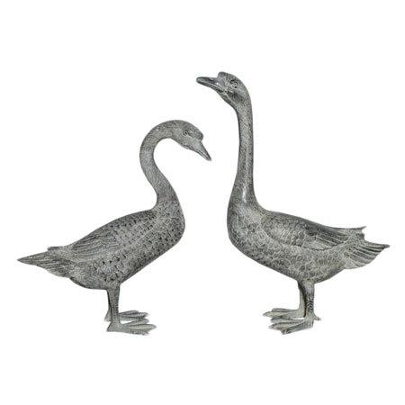 Garden Geese Pair Sculptures