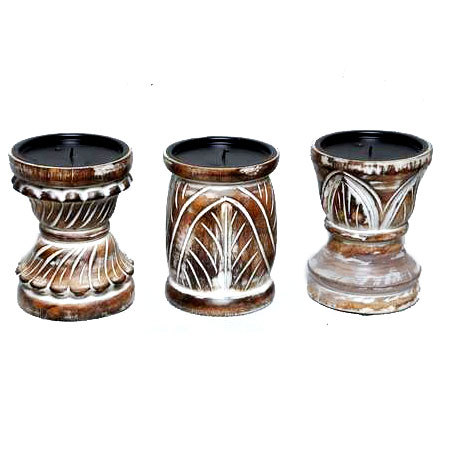 Wooden Carved Candle Stand