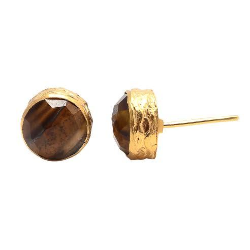 Tiger Eye Gemstone Ear Stud