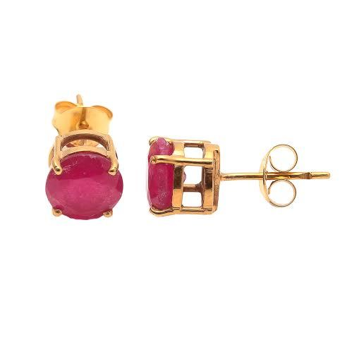 Dyed Ruby Gemstone Ear Stud