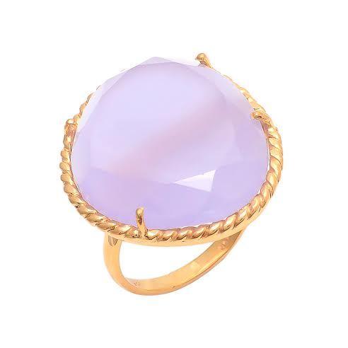 Lavender Chalcedony Gemstone Ring