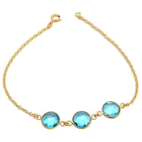 Blue Topaz Quartz Gemstone Bracelete