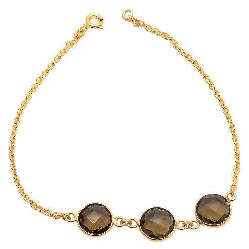 Smoky Topaz  Quartz Gemstone Bracelet
