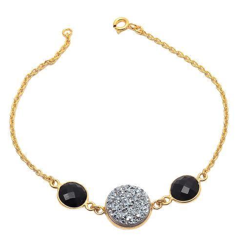 Black Onyx & Druzy Gemstone Bracelete