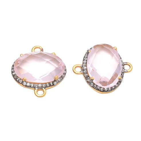 Pink Quartz Gemstone Connector