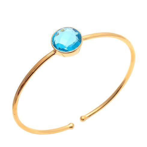 Blue Topaz Quartz Gemstone Bangle