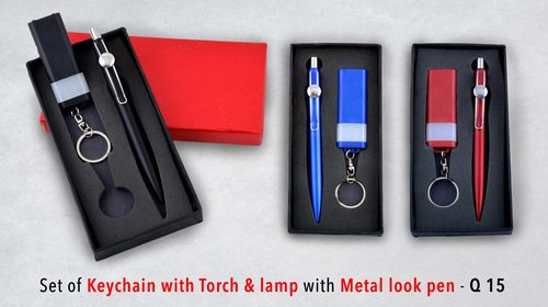 Keychain with Torch & lamp with metal look pen