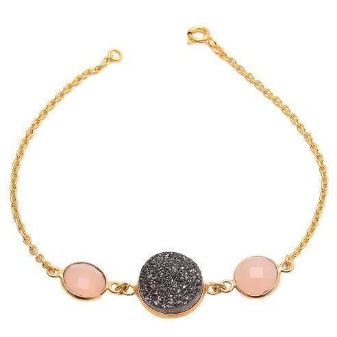 Pink Chalcedony & Black Druzy Gemstone Bracelete