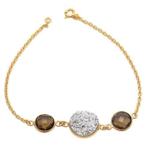 Smoky Topaz & Silver Druzy Gemstone Bracelete