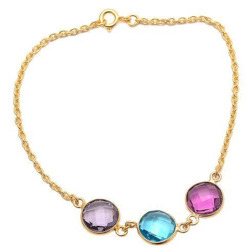 Amethyst / Blue Topaz & Pink Tourmaline Gemstone Bracelete