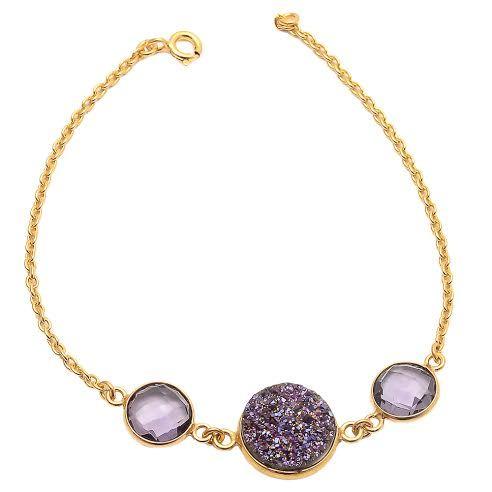 Amethyst & Purple Druzy Gemstone Bracelete