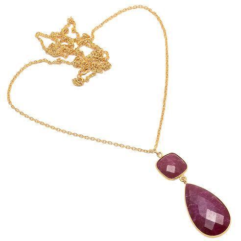 Dyed Ruby Gemstone Pendant