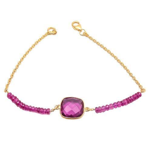 Pink Tourmaline Quartz Gemstone Bracelete