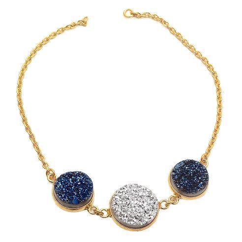 Silver & Blue Druzy Gemstone Bracelete