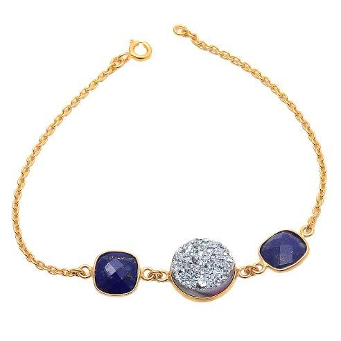 Lapis Lazuli & Silver Druzy Gemstone Bracelete