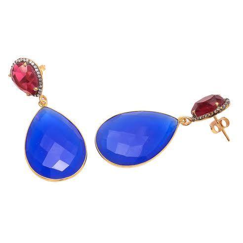 Blue Chalcedony & Ruby Quartz Gemstone Earring