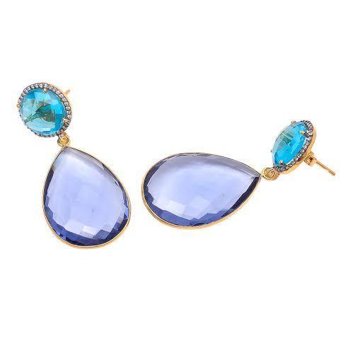 Iolite & Blue Topaz Quartz & Zircon gemstone Earring