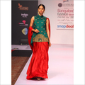 Red And Bottle Green Saree
