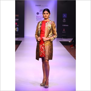Red And Brown Jacket With Dress
