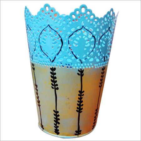 Hand Painted Metal Vase