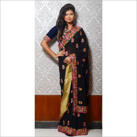 Embroidered Black Saree